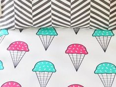 Bright ice cream 100% cotton fitted cot sheet