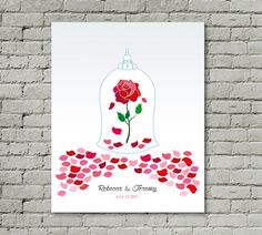 Printable Wedding Guest Book Beauty And The Beast Unique Guestbook Alternative Enchanted Rose Poster Print