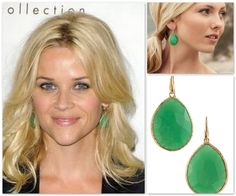 "Get the look for LESS! Reese Witherspoon is seen here wearing $9,000 designer earrings. Stella & Dot ""Serenity Stone Drop"" earrings are only $49!"