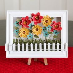 Spring Decoration: Flower Shadow Box - Crafts Unleashed diy craft projects with paper - Diy Paper Crafts Paper Flower Wreaths, Paper Flower Decor, Flower Crafts, Flower Decorations, Diy Flower, Flower Shadow Box, Diy Shadow Box, Flower Frame, Diy Origami