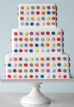dotty wedding cake | Read more on http://onefabday.com/polka-dot-wedding-cakes/