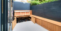 Smart bike storage Timber Fencing, Garden Studio, Modern Patio, Garden Office, House Extensions, West London, Kitchen Cabinetry, Open Plan Kitchen