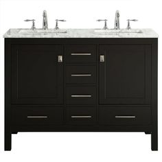 Eviva aberdeen Espresso Double Sink Bathroom Vanity with White Marble Top at Lowe's. Eviva Aberdeen Transitional Espresso Bathroom Vanity with White Carrara Countertop and double Sinks. Small Bathroom Vanities, Double Sink Bathroom, Bathroom Sink Vanity, Bathroom Ideas, Bathroom Plans, Bath Ideas, Bathroom Inspiration, Master Bathroom, Restroom Ideas