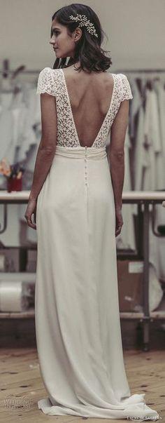 laure de sagazan 2017 bridal short puff sleeves v neck surplice heavily embelished lace bodice elegant column wedding dress open v back sweep train (bukowski) bv -- Laure de Sagazan 2017 Wedding Dresses