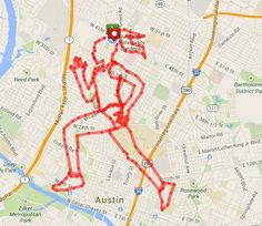 """MapMyFitness art contest winner - """"Running Woman"""" – Submitted by Sylvia R. from Austin, TX Total Distance = miles Running Map, Running Humor, Map My Run, App Map, Word Map, St P, Skinny Mom, King Jr, Land Art"""