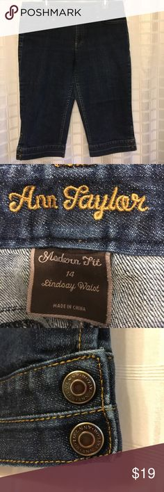 Ann Taylor jean capris Ann Taylor modern fit, Lindsay waist, jean capris. These just have so many little details like buttons on side of each leg, pockets with a little slant and buttons and extra stitching everywhere. VERY nice capris!!!!! Worn twice!😳 Ann Taylor Pants Capris