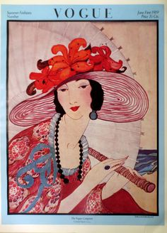 """Vintage Vogue Cover Poster Print, Full Color 1970s Frameable Picture Wall Art From 1919 Summer Fashion Issue, 15.25"""" x 11.25"""", Conde Nast"""