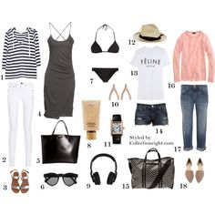 1. Joie Bromley sweater 2. Rag and Bone jean 3. Ancient Greek Clio sandals 4. James Perse Standard dress 5. Givenchy Antigonia tote 6. Illesteva sunglasses 7. Dolce and Gabbana Triangle bikini 8. Tarte BB Creme 9. Nixon headphones 10. Jennifer Meyer wishbone earrings 11. Cartier Tank rose gold 12. Sensi fedora 13. Brian Lichtenberg Feline tee 14. Rag and Bone Mila short 15. Pierre Hardy Cube tote 16. J Crew cashmere long sleeved tee 17. Current Elliot boyfriend jeans 18. Chinese Laundry flats