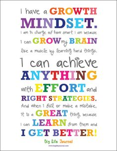 The poster is a growth mindset manifesto for kids: I have a growth mindset. I am in charge of how smart I am because I can grow my brain like a muscle by learning hard things.