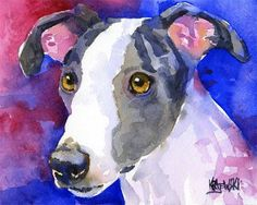 Whippet Dog Art Original Watercolor Painting by dogartstudio