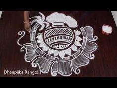Simple Bhogi Kundala Muggu With 9 x 1 Dots Easy Rangoli Designs Videos, Indian Rangoli Designs, Rangoli Designs Latest, Simple Rangoli Designs Images, Rangoli Designs Flower, Rangoli Border Designs, Rangoli Patterns, Rangoli Designs With Dots, Beautiful Rangoli Designs
