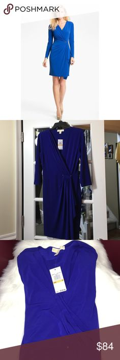 """🆕Michael Kors Faux Wrap Dress Gorgeous color, Dark Azurite Blue, in the faux wrap by MK. Silver tone hardware detail. Beautiful  side drape wrap. Size: S ( flat across underarm to underarm 19"""" and approx 38"""" length) . 3/4 sleeves. Brand new with tags. Michael Kors Dresses Midi"""