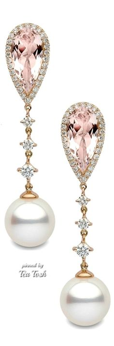 ❇Téa Tosh❇Pearl Drops, Diamonds, Morganite Earrings♡♡♡♡♡
