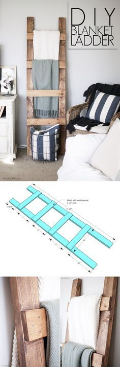 DIY Blanket Ladder / This is the easiest blanket ladder construction ever! Easy DIY project!