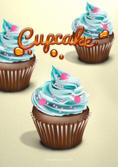 cupcakes drawing - illustrator & photoshop
