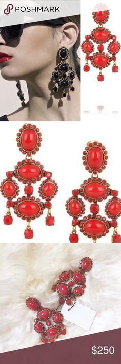 """Oscar de la Renta Red Chandelier Earrings Brand new Oscar de la Renta red earrings. Clip back. Missing one small stone at base of earring. Barely noticeable. 4"""" X 2"""". Retail $490. NO TRADES. Oscar de la Renta Jewelry Earrings"""