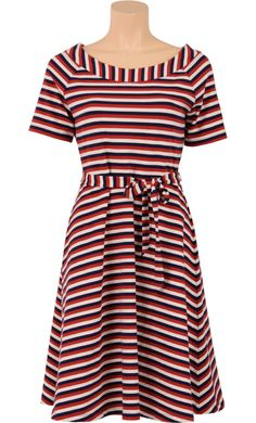 King Louie Skater dress stripes samba red