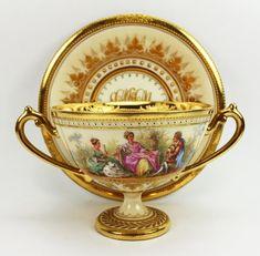 "Dresden A.Lamm Pair Watteau Cups & Saucers. ""Repinned by Keva xo""."