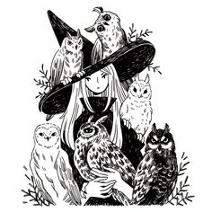 Heikala Inktober day A witch and six owl familiars Don't talk to me or my six flying cats ever again. Art And Illustration, Illustrations, Kunst Inspo, Art Inspo, Fantasy Kunst, Fantasy Art, Witch Drawing, Witch Aesthetic, Aesthetic Art