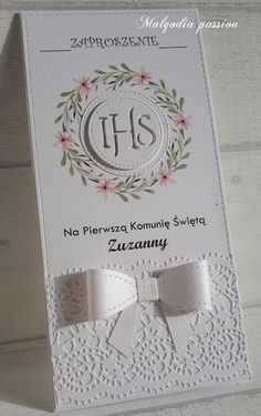 First Communion Cards, Holy Communion Cakes, Communion Favors, Christening, Holi, Projects To Try, Card Making, Place Card Holders, Handmade