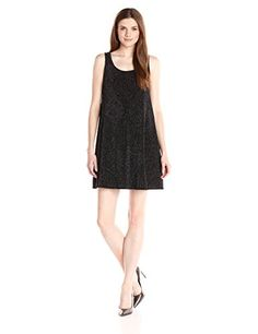 Everly Womens Sparkly Metallic Swing Dress Black Medium ** Details can be found by clicking on the image.