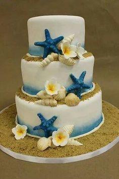 Blue beach cake starfish