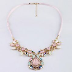 $6.90 Elegant Diamante Colored Faux Crystal Pendant Ribbon Necklace For Women
