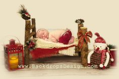 Christmas Newborn log bed holiday photo prop winter baby photography prop