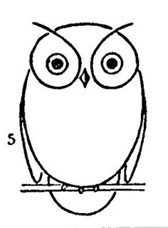 simple printable line art owl. going to use to embroider a border motif on a child's dress.