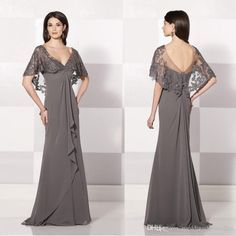 2015 Sfani New Arrival Grey Long A Line Mother Of The Bride Dresses Chiffon Lace Embroidery Shawl V Neck Formal Evening Dresses Custom Made Vintage Mother Of The Bride Dresses Mother Of The Groom Dresses Plus Size From Weddingdressseller, $117.28| Dhgate.Com