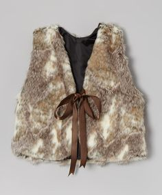 Take a look at this White & Brown Faux-Fur Ribbon Vest - Infant, Toddler & Girls on zulily today!