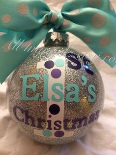 Baby's First Christmas Ornament Glass Glitter Ball by all4mygirlz