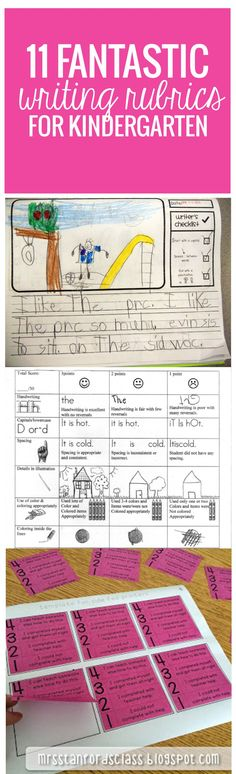11 Writing Rubrics for Kindergarten.