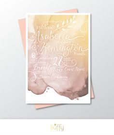 $35 on Etsy | A hand painted watercolor wedding invitation. Each design is uniquely created using a combination of calligraphy and flourishes.