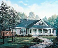 Cape Cod   Country   Ranch   Southern   Traditional   House Plan 86999 layout-BR 3into DR. Kitchen includes eating area.