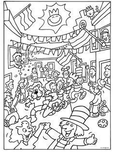 Kleurplaat Feest op straat - Kleurplaten.nl Coloring Books, Coloring Pages, Diagram, Cards, Images, Winter, Ideas, Colouring In, Carnival