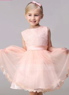 [US$ 57.69] A-Line/Princess Short/Mini Flower Girl Dress - Tulle/Lace Sleeveless Jewel With Bow(s)