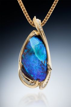Boulder Opal Pendant in 18k Yellow Gold with Diamonds - Skylight Jewelers