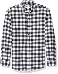 This classic black-and-white Cotton shirt features a button closure and has a soft feel and maximum comfort. Plaid Flannel Fabric, Flannel Shirt, Mens Essentials, Amazon Essentials, Style Costume Homme, Amazon Clothes, Mens Fashion Suits, Men's Fashion, Loose Fitting Tops
