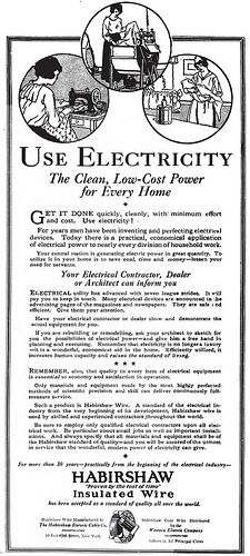 Simply how much does electrical power cost. http://www.tesla-turbine.com/how-much-does-electricity-cost.html USE ELECTRICITY The Clean, Low-Cost Power for Every Home - Habirshaw Insulated Wire ad