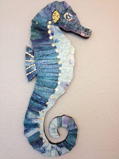 Mosaic Seahorse - Gold Smalti, Bullseye glass, all hand-cut.  lou ann weeks