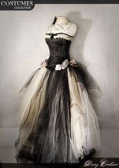 Abito da sposa con CORSETTO VITTORIANO neri abito di DecayCouture Abiti Da  Sposa Lunghi 6fdccffd2a9