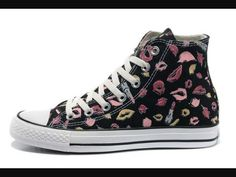 e0f08f9c2723 New Chuck Taylor All Star Coco Black Converse High Tops Womens Lipstick  Lips Print Canvas Online