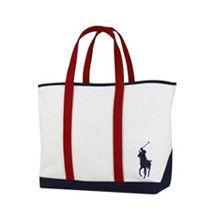 Polo Ralph Lauren Big Pony Red Striped Cream Tote Bag -- Style RL302  Price: £70.00 GBP  Medium Canvas Pony tote bag by Ralph Lauren - Red Striped & Cream