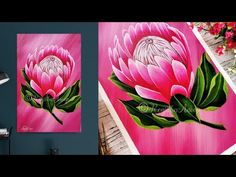 In this painting demo, I show you a step by step acrylic painting on canvas for beginners PROTEA flower painting. I have used limited colors for background c. Acrylic Painting Flowers, Acrylic Painting Canvas, Painting Art, Watercolor Paintings, Protea Art, Protea Flower, Flower Canvas, Flower Art, Fleur Protea