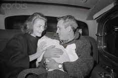 Lauren Bacall and Jason Robards Leaving Hospital with Baby Sam Robards