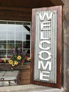 WELCOME Sign Vertical for Porch Rustic Metal on Distressed