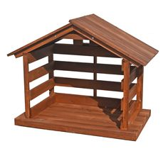 Large Scale Wood Stable, 36.5 inch tall Outdoor Nativity Scene, Nativity Stable, Nativity Sets, Stables, Indoor, Wood, Weather Conditions, Lawn, Pine