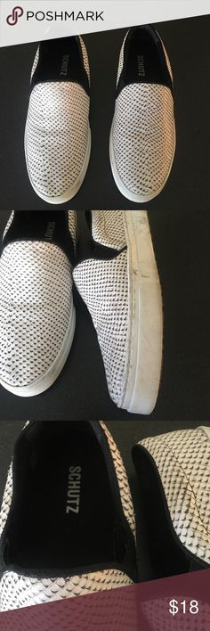 """Schutz Amisha Snake Black White Sneakers Slip on 8 Womens Schutz Amisha Snake Black White Sneakers Shoes 8M.   Designer: Schutz Style: Amisha Condition: Good condition some wear.  Size: 8M 39, fits more like 8.5  Color: Black white snake Content: Leather upper, rubber sole Heel: 1 1/2"""" Width: 3 3/8"""" Insole: 10 3/8"""" SCHUTZ Shoes Sneakers"""