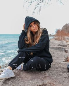 "sadie :D on Instagram: ""sometimes u just gotta sit on a rock & look like a robber yk"" Aesthetic Photo, Aesthetic Clothes, Simple Outfits, Cute Outfits, Teen Girl Outfits, Fall Winter Outfits, Sadie, My Photos, Rain Jacket"